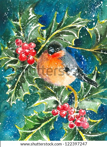 Bullfinch and holly in a snowy day watercolor painted. - stock photo