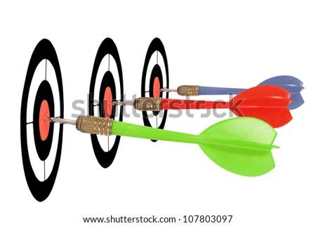 bulls eye for three different darts - stock photo