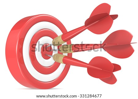 Bulls Eye. Red and white Dart Board with 3 red dart arrows. - stock photo
