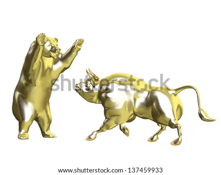 Bulls vs Bears - Gold Market: Angry Golden Bull and Bear squaring off.  Isolated on a white background - stock photo