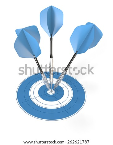 Bullseye. 3 blue dart arrows hitting center of target. - stock photo
