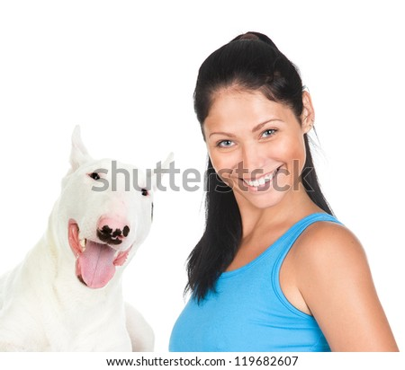 bullterier dog and slim woman. isolated on white background - stock photo