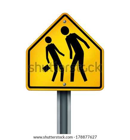 Bullying concept as a yellow traffic sign with an abusive bully attacking a another person as a symbol of the anxiety of being bullied and the social issues of human psychological abuse and fear. - stock photo