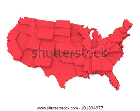 bump map of USA - stock photo