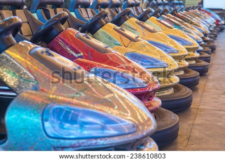 Bumper cars in a row - stock photo