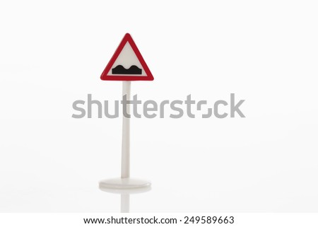 Bumps ahead sign on white background - stock photo