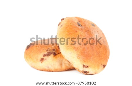 bun with chocolate on a white background - stock photo