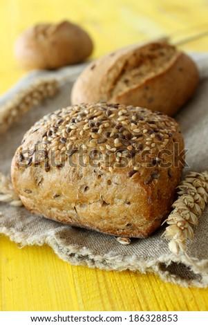 bun with seeds - stock photo