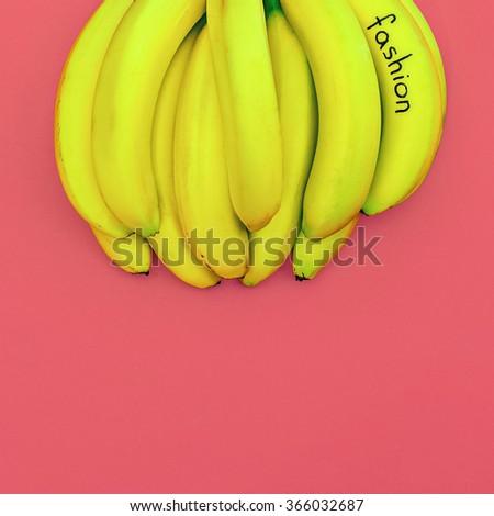 Bunch Bananas fashion. Minimalism style photo - stock photo