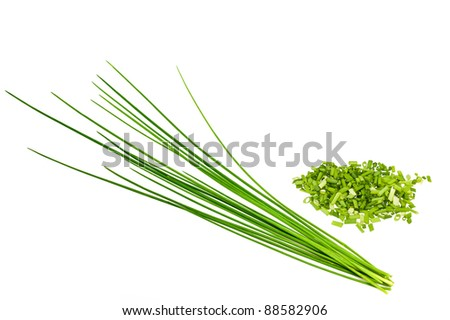 bunch chives  isolated on white - stock photo