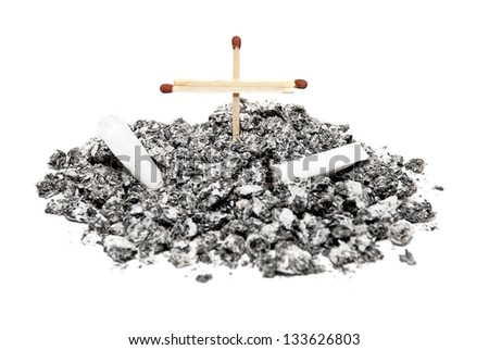 Bunch cigarette ash with a cross of mathces. Concept idea - No smoking - stock photo