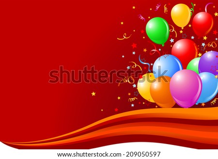 Bunch colorful balloons on the wave background  - stock photo