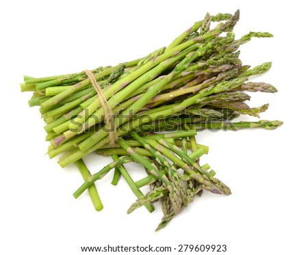 bunch of asparagus on white background  - stock photo