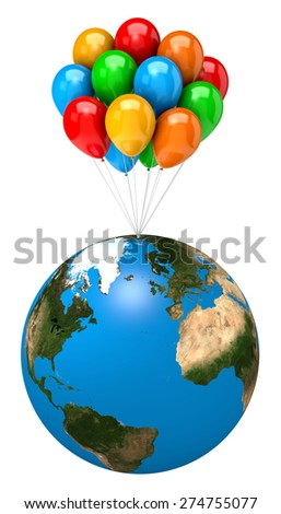 Bunch of Balloons Holding Up the Earth Planet on White Background 3D Illustration - World Map image from NASA  - stock photo
