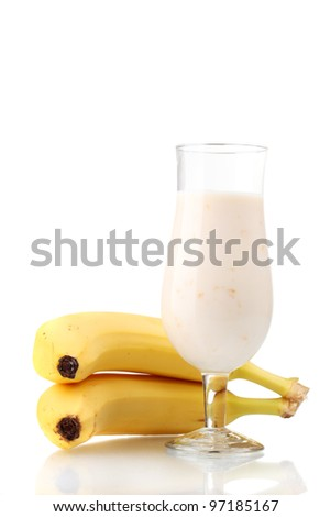 Bunch of bananas and milk cocktail isolated on white - stock photo