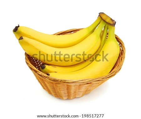 Bunch of bananas isolated in basket on white background  - stock photo