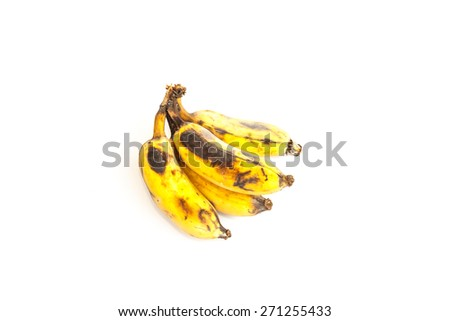 Bunch of bananas isolated on white background.Overripe bananas in front of a white background - stock photo