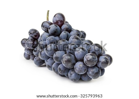 Bunch of black grapes isolated on a white cutout - stock photo