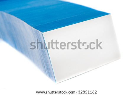 Bunch of blue business cards, with empty front card. Isolated on white background. - stock photo
