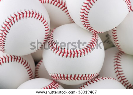 Bunch of brand new baseballs - stock photo
