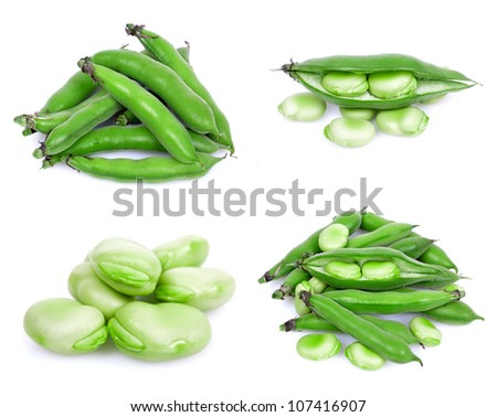 bunch of broad beans on a white background collage - stock photo