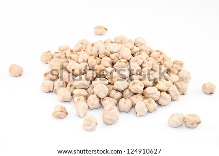 Bunch of chickpeas on white background - stock photo