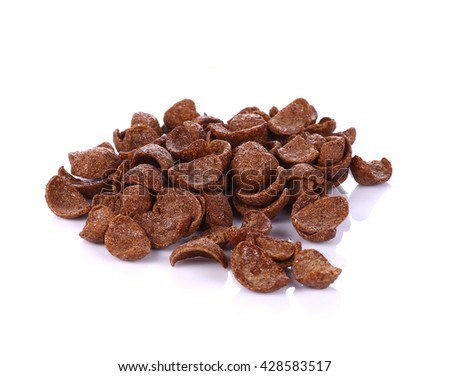 Bunch of chocolate cereals on white background - stock photo