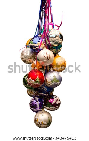 Bunch of christmas baubles - stock photo