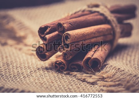 Bunch of cinnamon sticks - stock photo