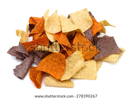 bunch of colored corn chips on white background  - stock photo