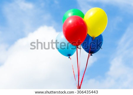 Bunch of colorful balloons - stock photo