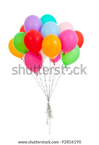 bunch of colorful balloons on white background - stock photo