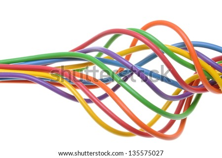 Bunch of colorful electrical cables isolated on white background - stock photo