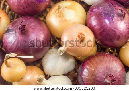 Bunch of colorful garlic and onions on a pile - stock photo