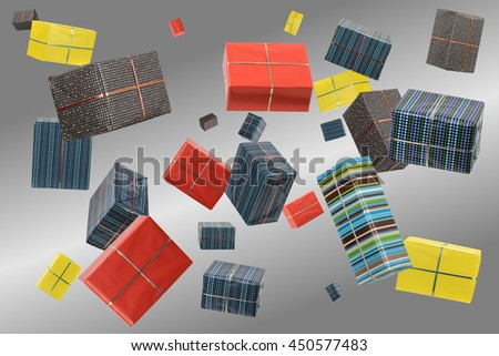 Bunch of colorful gifts and presents - stock photo