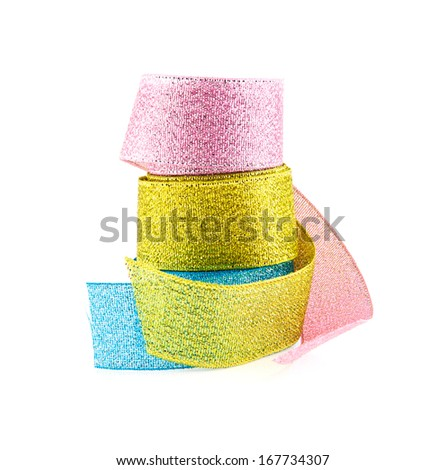 bunch of decorative ribbon on a white background - stock photo