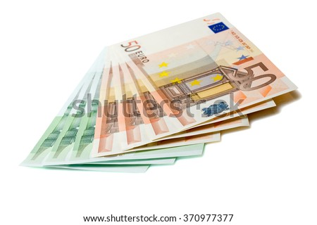 Bunch of Euro banknotes over white background - stock photo