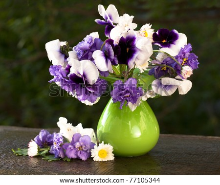 bunch of flowers pansies in a jar of glass - stock photo
