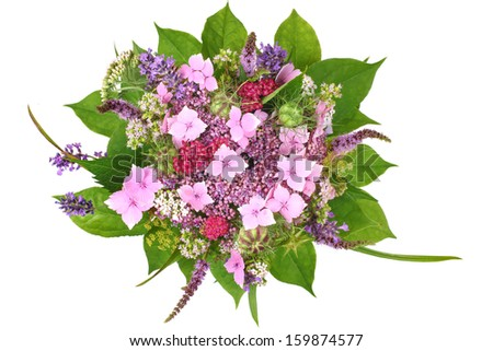 Bunch of flowers with lavender and hydrangea - stock photo