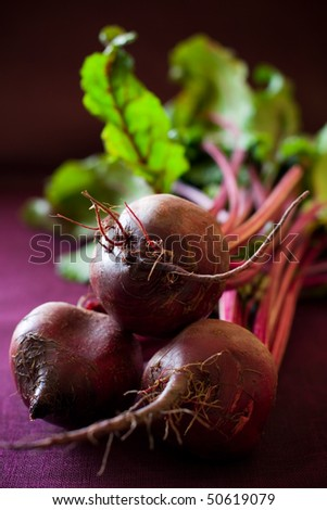 Bunch of fresh beetroots with leaves - stock photo