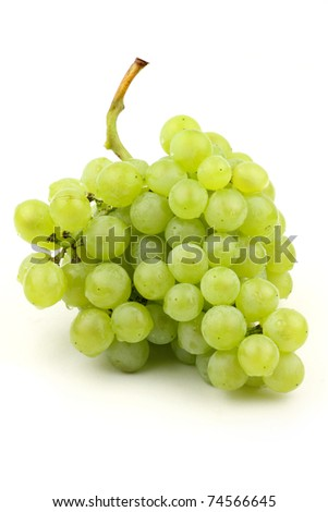 bunch of fresh grapes on white background - stock photo