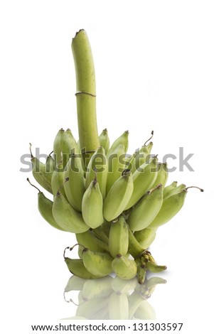 Bunch of fresh green bananas isolated on white background - stock photo