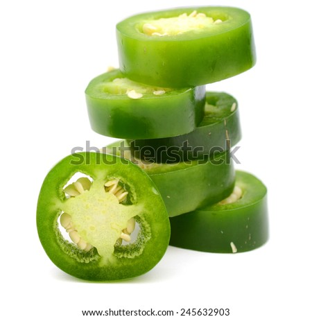 bunch of fresh green chili pepper slices - stock photo