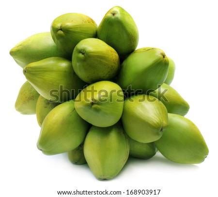 Bunch of fresh green Coconuts over white background - stock photo