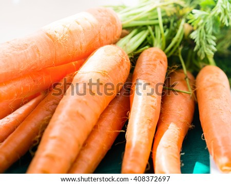 Bunch of fresh paddock carrots on green wooden background - stock photo