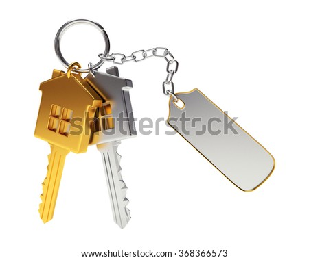 Bunch of golden and silver house-shape keys with blank label isolated on white background  - stock photo