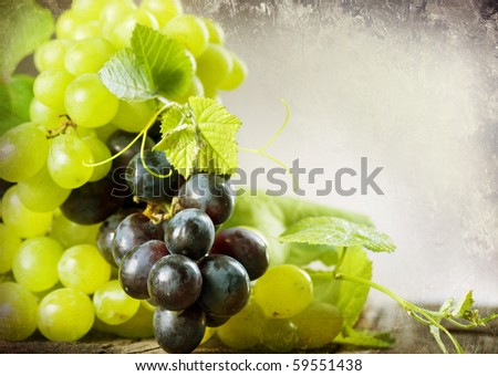 Bunch of grape.Vintage Styled.With Copy-space - stock photo