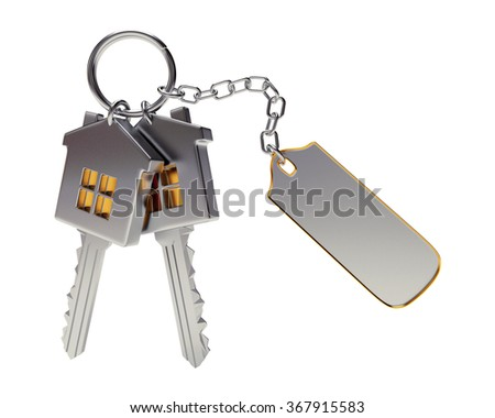 Bunch of house-shape keys with blank label isolated on white background  - stock photo