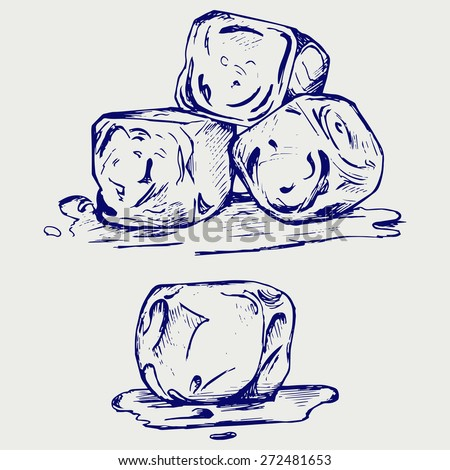 Bunch of ice cubes. Doodle style. Raster version - stock photo