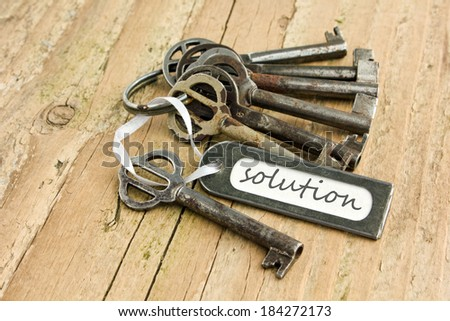 bunch of keys and label with lettering solution/solution/english - stock photo